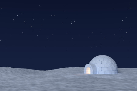 warm house: Winter north polar snowy landscape: eskimo house igloo icehouse with warm light inside made with snow at night on surface of snow field under cold night north sky with bright stars