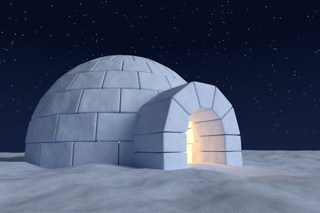 Winter north polar snowy landscape: closeup view of eskimo house igloo icehouse with warm light inside, made with snow at night on surface of snow field under cold night north sky with bright stars