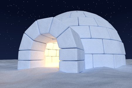 under view: Winter north polar snowy landscape: closeup view of eskimo house igloo icehouse with warm light inside made with snow at night on surface of snow field under cold night north sky with bright stars