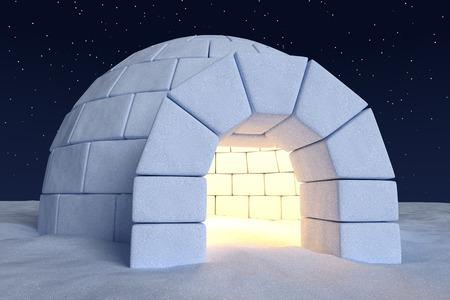 �cold: Inverno polare nord paesaggio innevato: vista del primo piano della casa igloo eschimese ghiacciaia con luce calda interna realizzata con neve durante la notte sulla superficie del campo di neve sotto il cielo notte fredda a nord con le stelle