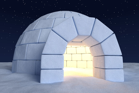 cold: Winter north polar snowy landscape: closeup view of eskimo house igloo icehouse with warm light inside made with snow at night on the surface of snow field under cold night north sky with stars