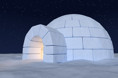 snow field: Winter north polar snowy landscape: close-up view of eskimo house igloo icehouse with warm light inside made with snow at night on surface of snow field under cold night north sky with bright stars