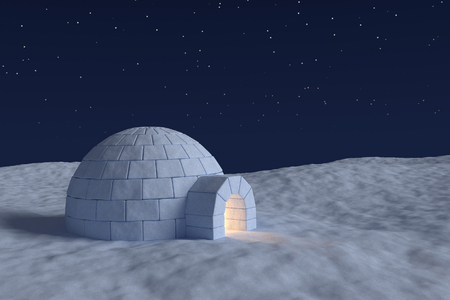 snow field: Winter north polar snowy landscape: eskimo house igloo icehouse with warm light inside made with snow at night on the surface of snow field under the cold night north sky with bright stars Stock Photo