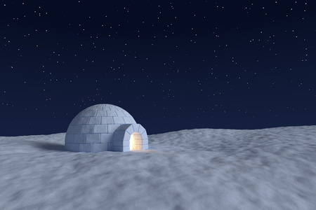 eskimo: Winter north polar snowy landscape: eskimo house igloo icehouse with warm light inside made with snow at night on the surface of snow field under cold night sky with bright north stars