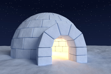 Winter north polar snowy landscape: closeup view of eskimo house igloo icehouse with warm light inside made with snow at night on the surface of snow field under cold night north sky with bright stars Archivio Fotografico