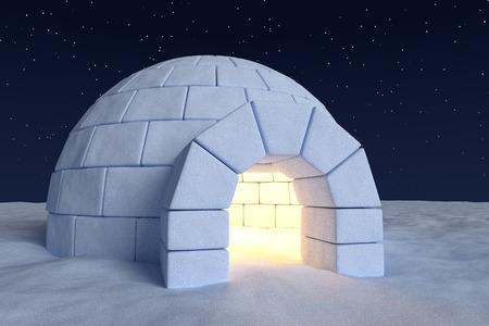 Invierno polar norte paisaje nevado: opinión del primer depósito de hielo esquimal casa iglú con la luz interior caliente hecha con nieve durante la noche en la superficie del campo de nieve bajo el cielo frío de la noche al norte con las estrellas brillantes