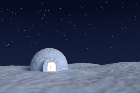 warm house: Winter north polar snowy landscape: eskimo house igloo icehouse with warm light inside made with snow at night on the surface of snow field under cold night north sky with bright stars front view
