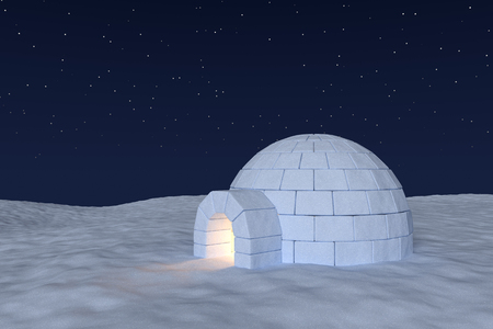 snow field: Winter north polar snowy landscape: eskimo house igloo icehouse with warm light inside made with snow at night on the surface of snow field under cold night north sky with bright stars