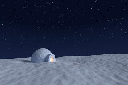 Winter north polair sneeuwlandschap: eskimo iglo icehouse met warm licht binnen gemaakt met sneeuw 's nachts op het oppervlak van sneeuw veld onder de koude nacht north hemel met heldere sterren Stockfoto