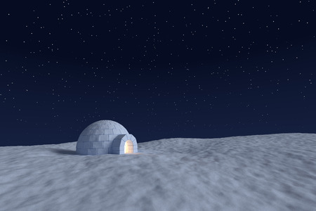 Winter north polar snowy landscape: eskimo igloo icehouse with warm light inside made with snow at night on the surface of snow field under cold night north sky with bright stars Stock Photo