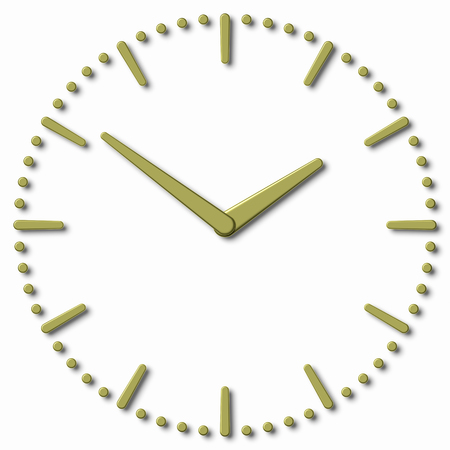 hour hand: Simple clock face with yellow metal hour hand, yellow metal minute hand with shadows on white clock face with yellow metal hours and minutes markers, 3d illustration Stock Photo