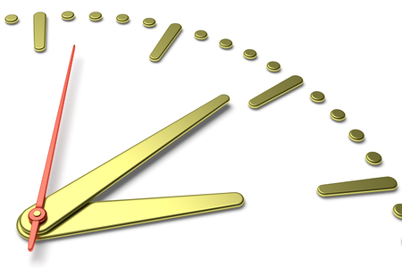second hand: Simple clock face with yellow metal hour and minute hands and red second hand with shadows on white clock face with yellow metal hours and minutes markers, 3d illustration, diagonal view Stock Photo