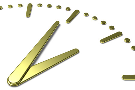 hands  hour: Simple clock face with yellow metal hour and minute hands with shadows on white clock face with yellow metal hours and minutes markers, 3d illustration diagonal view Stock Photo