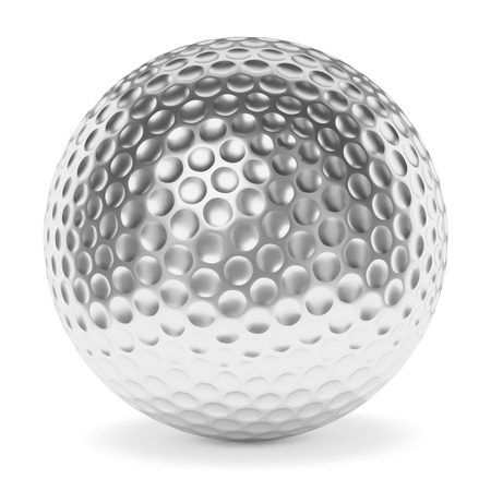 Golf sport competition winning and golf trophy concept: silver shiny golf ball with shadow isolated on white background 3d illustration