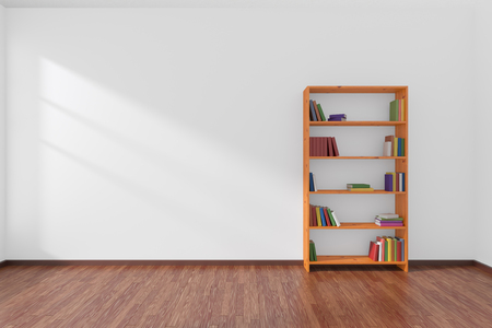 parquet floor: Minimalist interior of empty white room with dark parquet floor and the bookcase with many colored books stood at the wall illuminated by sunlight from the window, 3D illustration