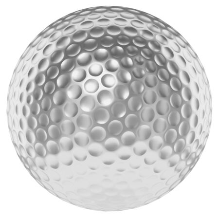 golfball: Golf sport competition winning and golf trophy concept: silver shiny golfball isolated on white background 3d illustration