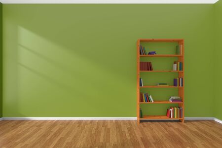many coloured: Minimalist interior of empty green room with parquet floor and the bookcase with many colored books stood at the wall illuminated by sunlight from the window, 3D illustration