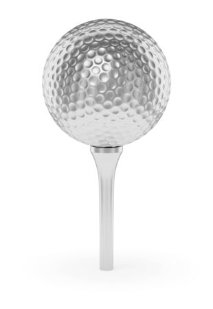 golfball: Golf sport competition winning and golf trophy concept: silver shiny golfball on tee with shadow isolated on white background 3d illustration
