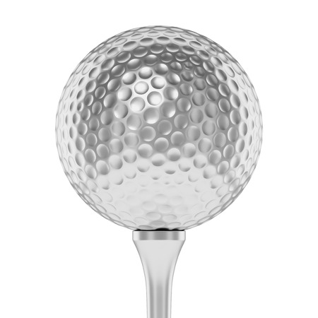 golfball: Golf sport competition winning and golf trophy concept: silver shiny golf ball on tee closeup isolated on white background 3d illustration