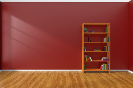 parquet floor: Minimalist interior of empty red room with parquet floor and the bookcase with many colored books stood at the wall illuminated by sunlight from the window, 3D illustration
