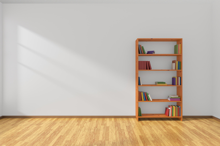 parquet floor: Minimalist interior of empty white room with parquet floor and the bookcase with many colored books stood at the wall illuminated by sunlight from the window, 3D illustration Stock Photo