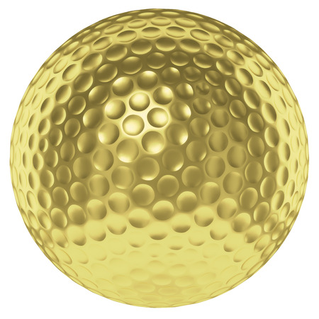 golfball: Golf sport competition winning and golf trophy concept: golden yellow shiny golf ball isolated on white background 3d illustration