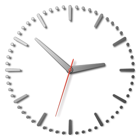 second hand: Simple clock face with metal hour hand, metal minute hand and red second hand with shadows on white clock face with metal hours and minutes markers, 3d illustration Stock Photo