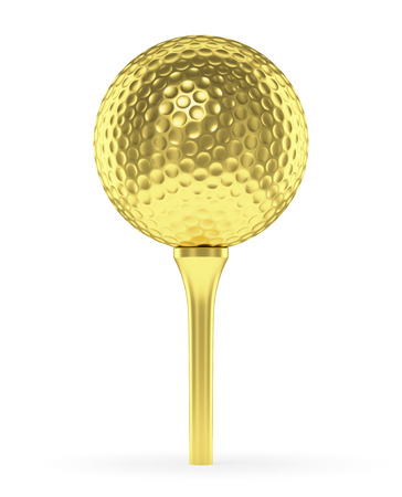Golf sport competitie winnen en golf trophy concept: goudgeel glanzende golfbal op de tee op een witte achtergrond 3D-afbeelding Stockfoto