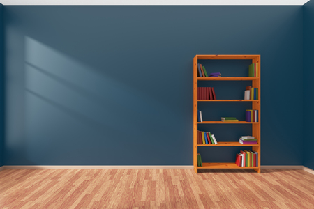 library shelf: Minimalist interior of empty blue room with parquet floor and the bookcase with many colored books stood at the wall illuminated by sunlight from the window, 3D illustration