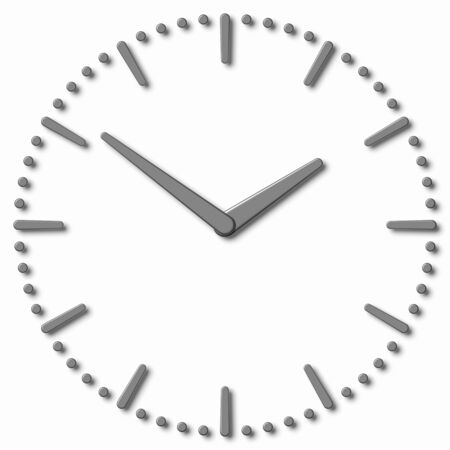 hour hand: Simple clock face with metal hour hand, metal minute hand with shadows on white clock face with metal hours and minutes markers, 3d illustration