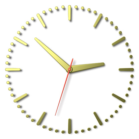 second hand: Simple clock face with yellow metal hourand minute hands and red second hand with shadows on white clock face with yellow metal hours and minutes markers, 3d illustration