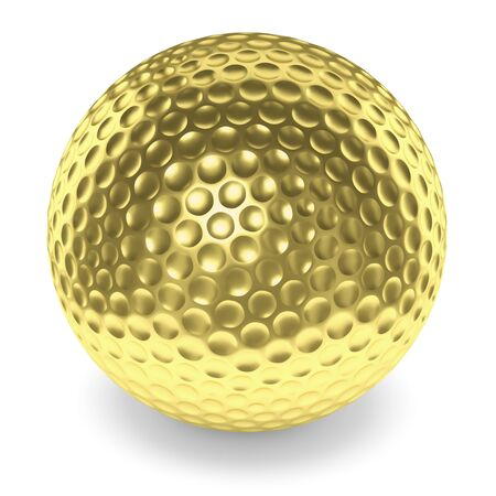 golfball: Golf sport competition winning and golf trophy concept: golden yellow shiny golfball with shadow isolated on white background 3d illustration