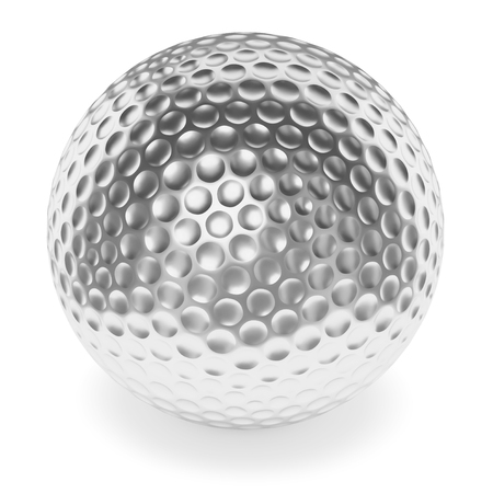 golfball: Golf sport competition winning and golf trophy concept: silver shiny golf-ball with shadow isolated on white background 3d illustration