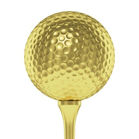 golfball: Golf sport competition winning and golf trophy concept: golden yellow shiny golf ball on tee closeup isolated on white background 3d illustration