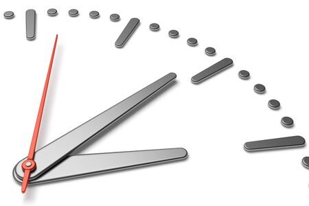 second hand: Simple clock face with metal hour and minute hands and red second hand with shadows on white clock face with metal hours and minutes markers, 3d illustration diagonal view