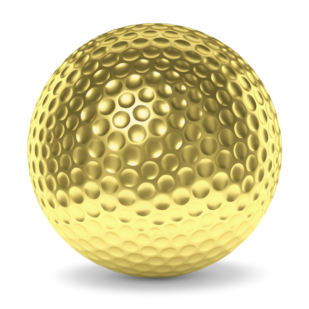 golden ball: Golf sport competition winning and golf trophy concept: golden yellow shiny golf ball with shadow isolated on white background 3d illustration Stock Photo