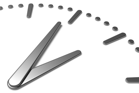 hour hand: Simple clock face with metal hour hand, metal minute hand with shadows on white clock face with metal hours and minutes markers, 3d illustration diagonal view