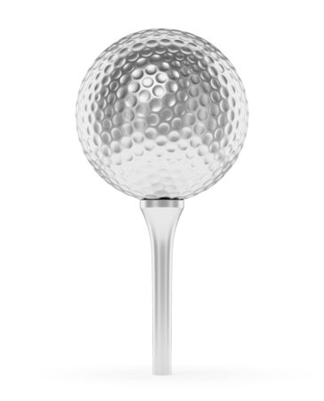 golfball: Golf sport competition winning and golf trophy concept: silver shiny golf ball on the tee with shadow isolated on white background 3d illustration