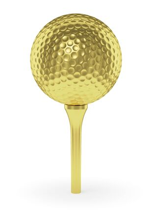golfball: Golf sport competition winning and golf trophy concept: golden yellow shiny golf ball on tee with shadow, isolated on white background 3d illustration