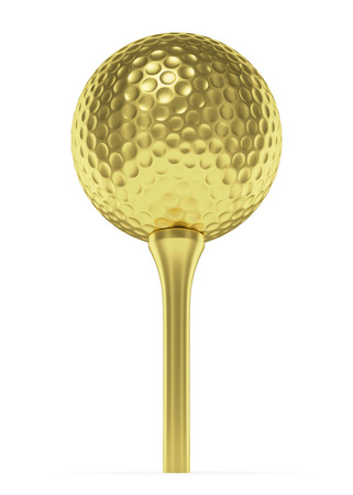 golfball: Golf sport competition winning and golf trophy concept: golden yellow shiny golf-ball on tee isolated on white background 3d illustration