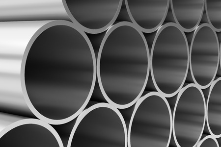industrial products: Manufacturing industry business production and heavy metallurgical industrial products creative abstract illustration: many shiny steel pipes closeup view, industrial 3D illustration Stock Photo