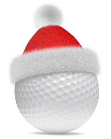 white fur: New Year and Christmas holidays sport leisure creative concept: white golfball in Santa Claus red hat with red and white fur isolated on white backgroung 3d illustration