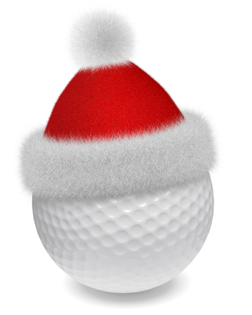 white fur: New Year and Christmas holidays sport leisure creative concept: white golfball in Santa Claus fluffy red hat with red and white fur isolated on white backgroung 3d illustration Stock Photo