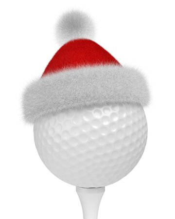 New Year and Christmas holidays sport leisure creative concept: white golf ball on tee in Santa Claus fluffy red hat with red and white fur isolated on white backgroung 3d illustration