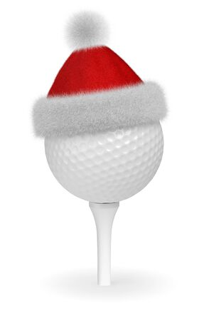 white fur: New Year and Christmas holidays sport leisure creative concept: white golf ball on tee in Santa Claus fluffy red hat with red and white fur isolated on white backgroung 3d illustration