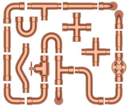パイプライン建設詳細セットを銅: 銅パイプ、バルブ、チューブ、継手、カプラー、他銅パイプライン産業 3 d イラスト白背景に分離された要素コレ