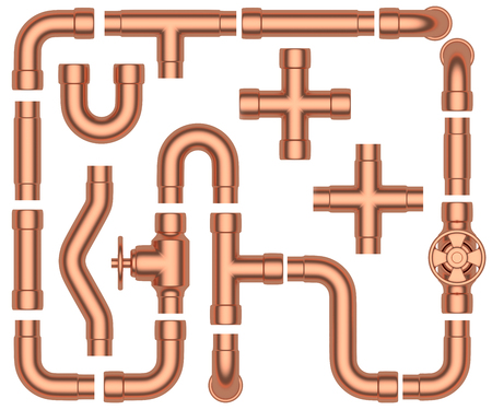 fittings: Copper pipeline construction details set: copper pipes, valves, tubes, fittings, couplers and other copper pipeline elements collection isolated on white background, industrial 3d illustration