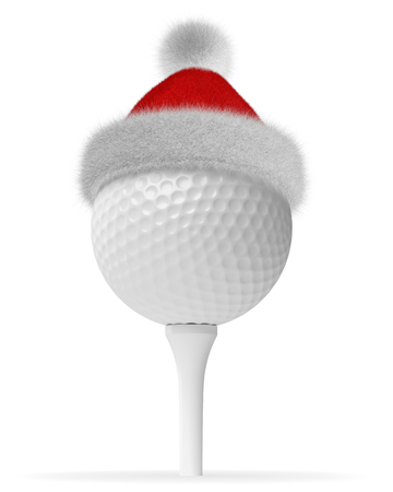 New Year and Christmas holidays sport leisure creative concept: white golfball on tee in Santa Claus fluffy red hat with red and white fur isolated on white backgroung 3d illustration Stock Photo