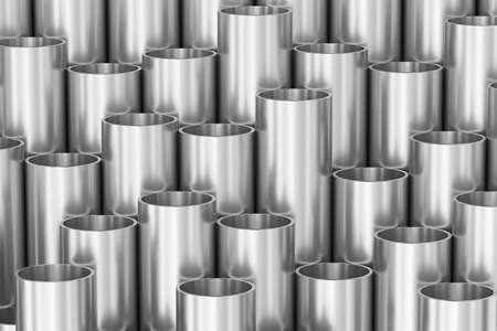 steel industry: Manufacturing industry business production and heavy metallurgical industrial products creative abstract illustration: many steel shiny pipes industrial background, creative 3D illustration Stock Photo