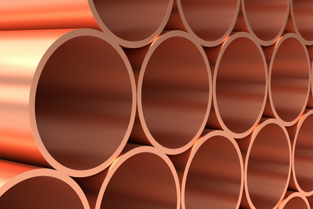 rolled: Heavy metallurgical industry production and non-ferrous industrial products creative abstract illustration: many stainless metal shiny copper pipes lying in rows closeup, industrial 3D illustration